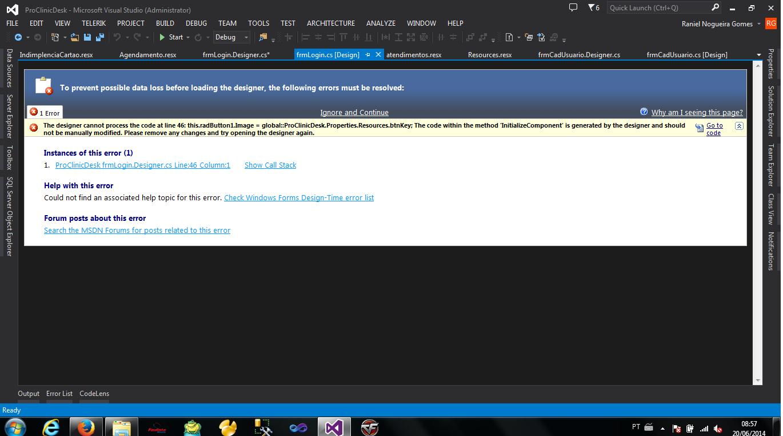 Erro Visual Studio