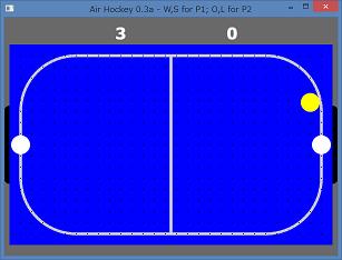 Screen shot of a program Air Hockey 0.3a