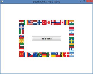 Screen shot of a program International Hello World