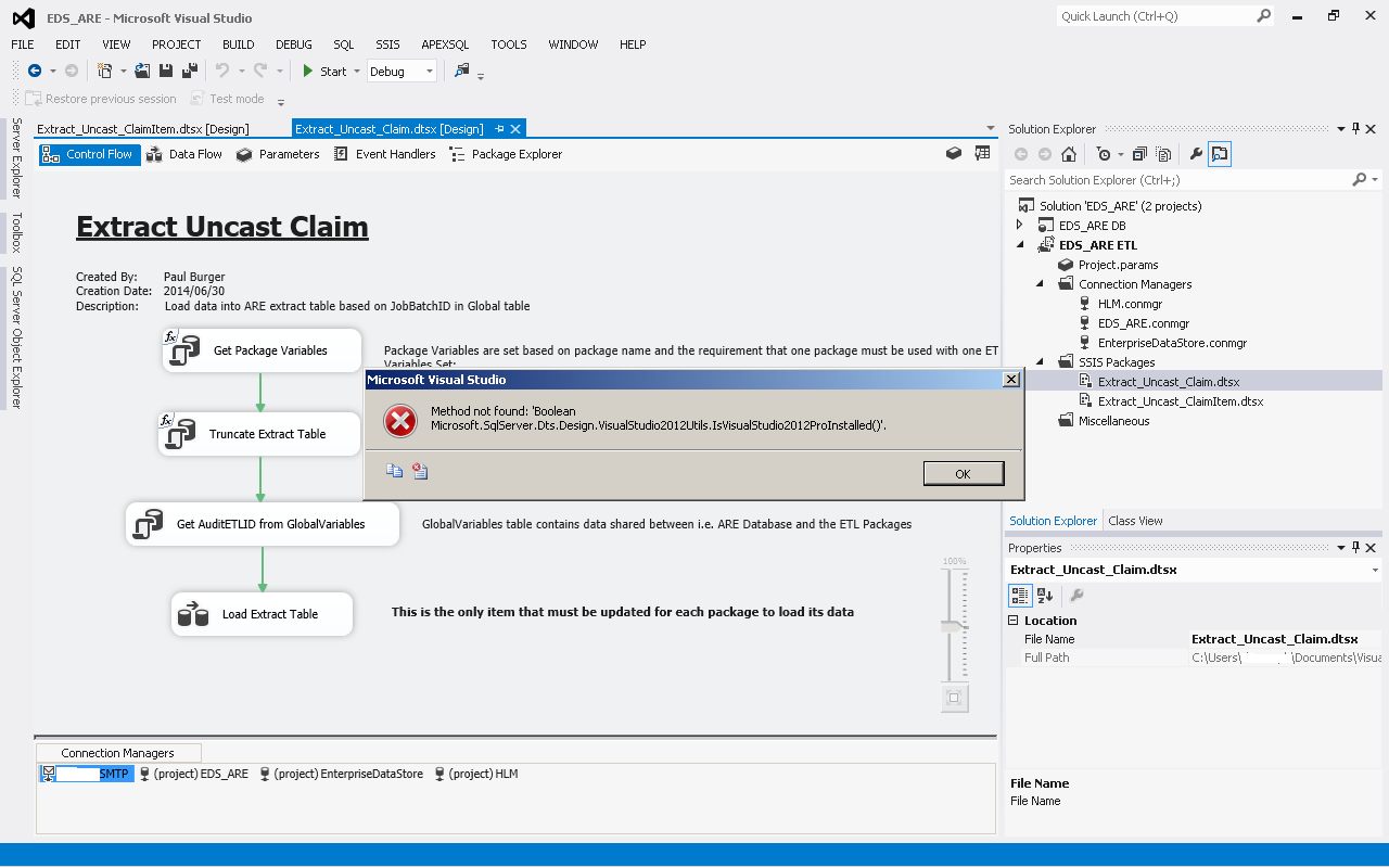 how to create ssis package in visual studio 2012