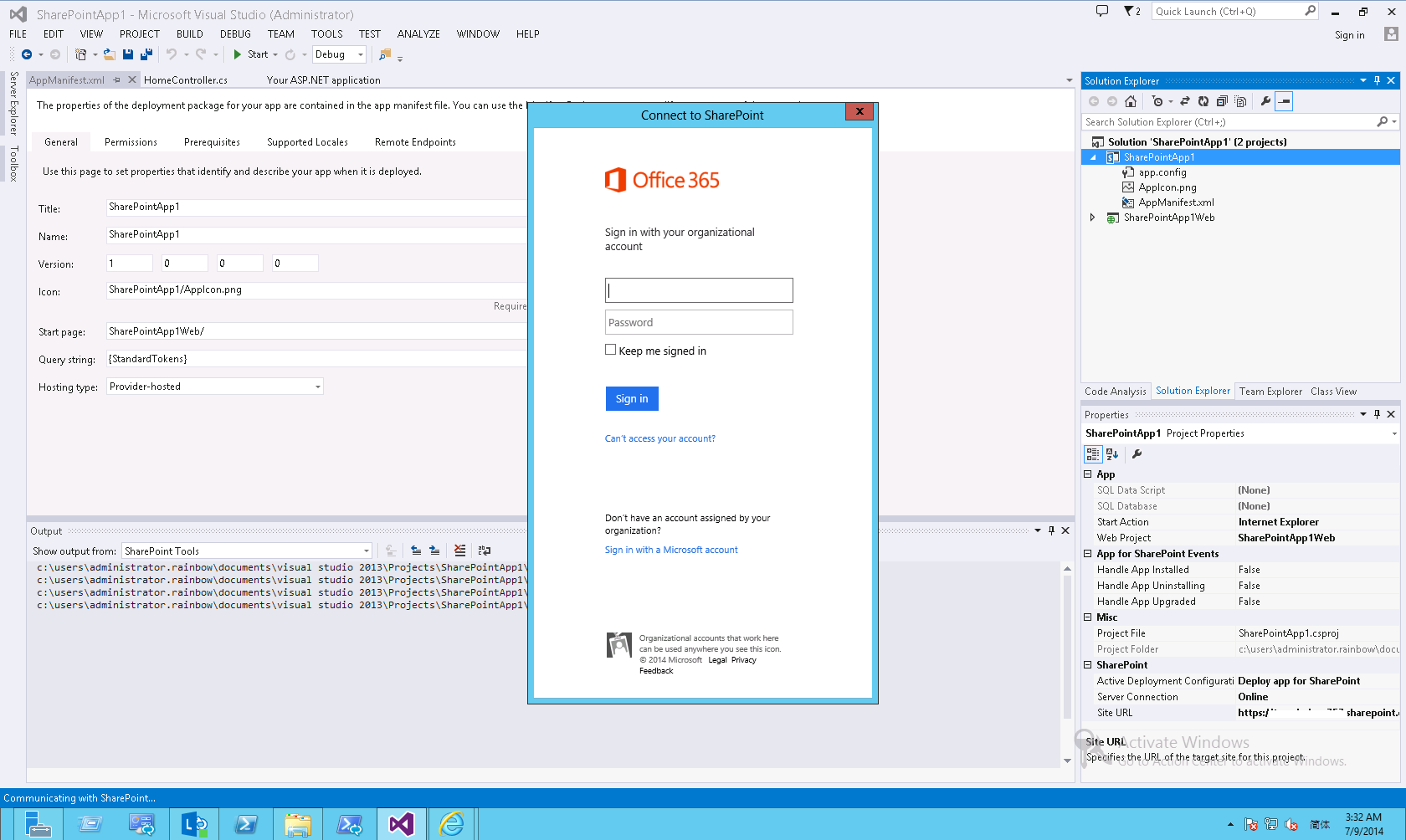 how to connect sharepoint to visual studio