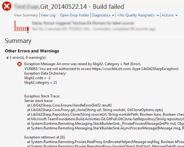 TFS 2013 git build authentication error with libgit2