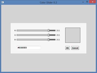 Screen shot of a program Color Slider 0.2