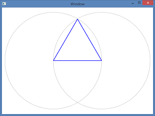Screen shot of a program to draw regular triangle coded by Athasak