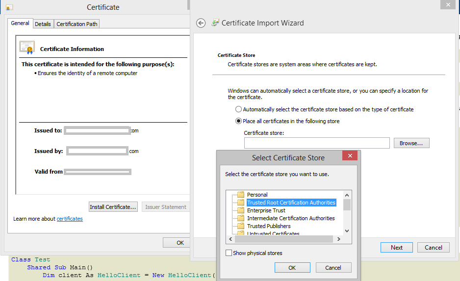 SSL in WCF with Self signed certificate