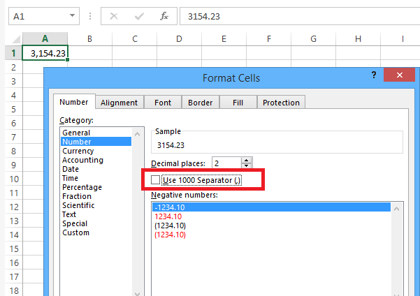 remove commas from numbers when converting excel to csv