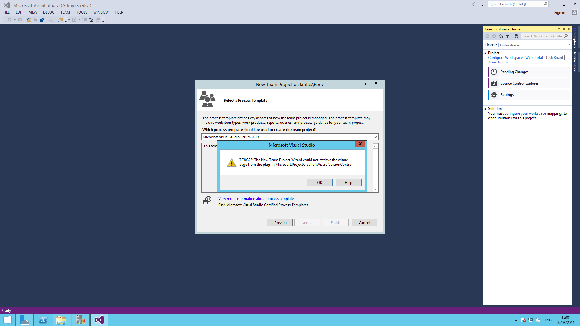 Error message when creating a new team project tf30323 anyone with tips or tricks please help me xflitez Images