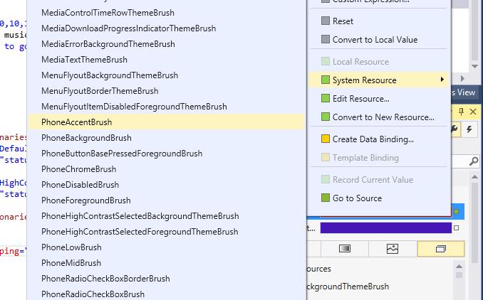 Visual Studio Properties designer showing PhoneAccentBrush resource
