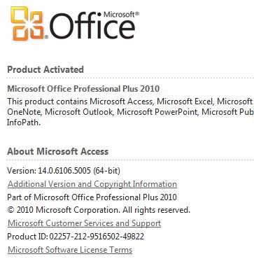 2010 64 bit: The database cannot be opened because the VBA project