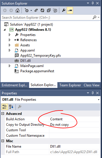 Solution Explorer showing DLL with Build Action as Content