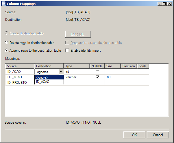 SQL import data when both source and destination has data and
