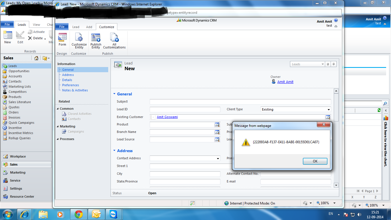 After selecting the Contact Name from Contact in the Existing Customer(look-up) Field of Lead Entity Form.: FIRST ERROR