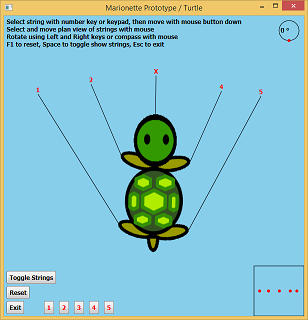 Screen shot of a program Marionette Prototype / Turtle
