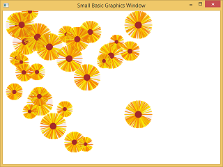Screen shot of a program drawing flowers