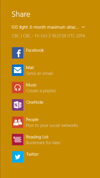 Screen shot showing share targets, including Facebook and Twitter