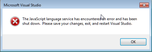 Javascript Language service has encountered an error and has been shut down.