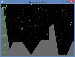 Screen shot of a program Lunar Module 0.5b
