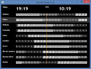 Screen shot of a program World Clock 0.2b