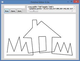 Screen shot of a program Polyline Editor 0.2a