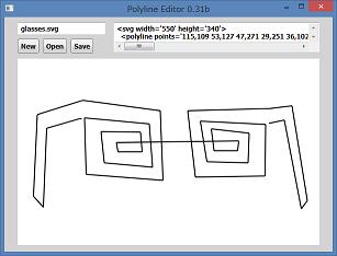 Screen shot of a program Polyline Editor 0.31b
