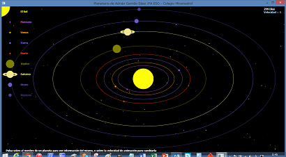 Screen shot of a program Planetario