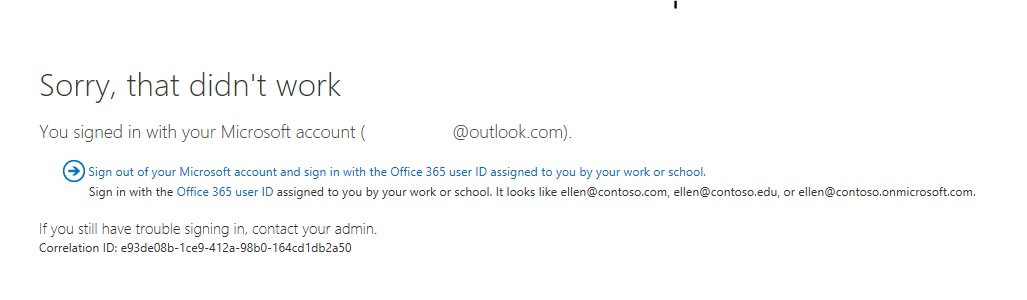 External users not able to login into office 365 for Office design brief template