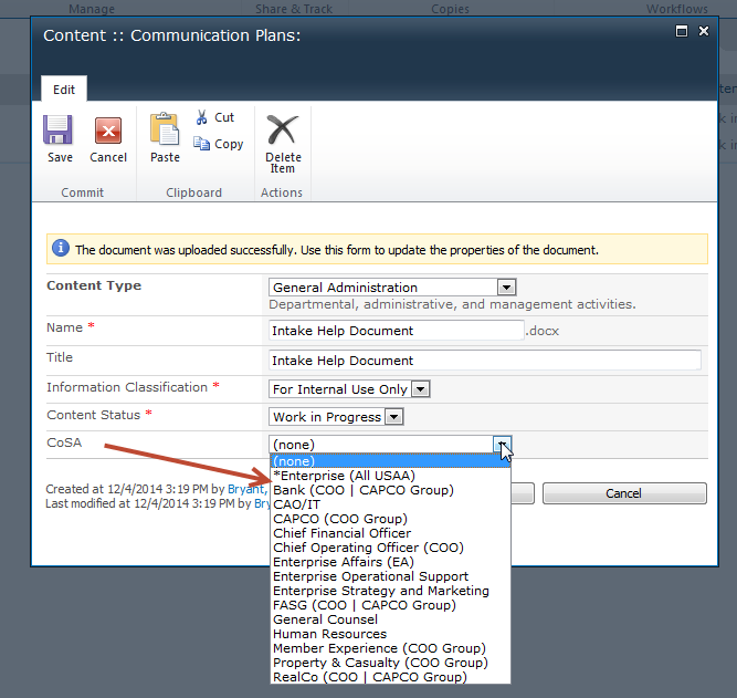 Adding a sharepoint document library field to content type for Document library content type