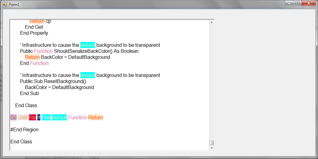 RichTextBox find and color text visual basic