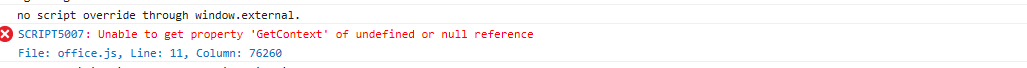 Excel online issue with Office JS