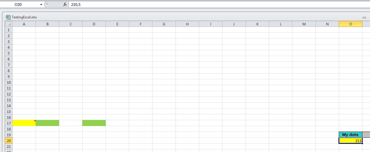Screenshot of Excel file