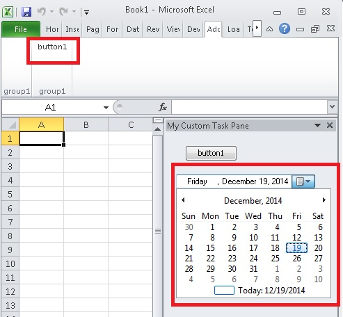 How to add DatePicker in Excel AddIn Ribbon