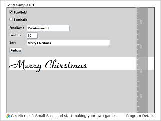 Screen shot of a program Fonts Sample 0.1