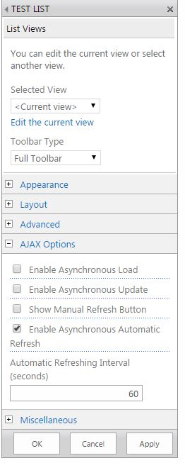 refresh sharepoint page