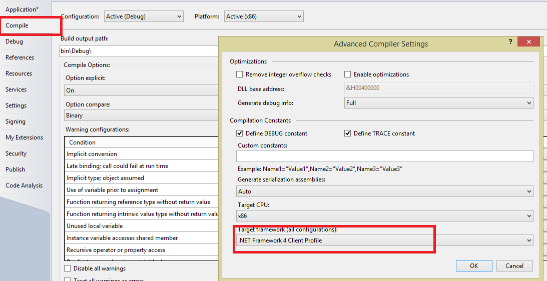 how to change net framework settings