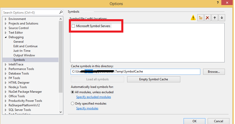 Visual Studio 2012 can't load pdb for ntdll dll, kernel32 dll and so on