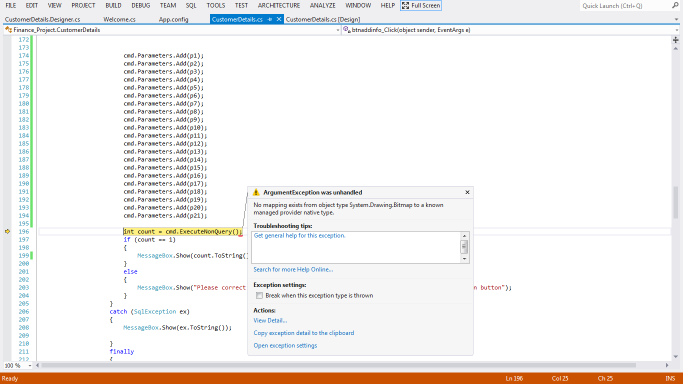 Error While Inserting Information Along With Images Into Database Using The Webbrowser Control In Aspnet Codeproject
