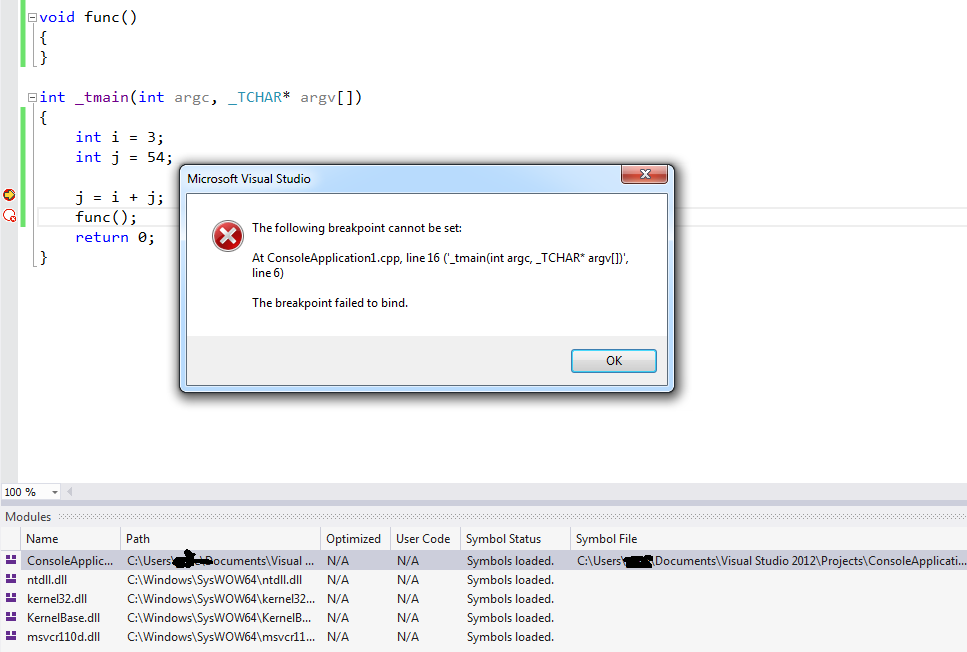 Visual Studio 2012 Cannot Set Break Point In A Simple Program