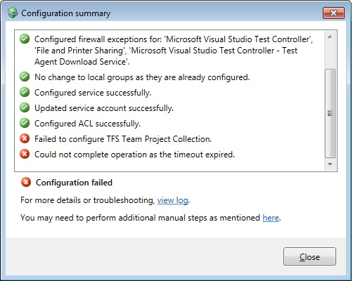 The visual Studio Test controller service on local computer