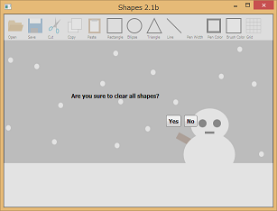 Screen shot of a program Shapes 2.1b