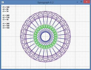 Screen shot of a program Spirograph 0.2