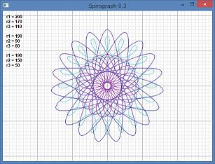 Screen shot of a program Spirograph 0.3