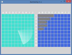 Screen shot of a program Battleship in Small Basic 0.1a