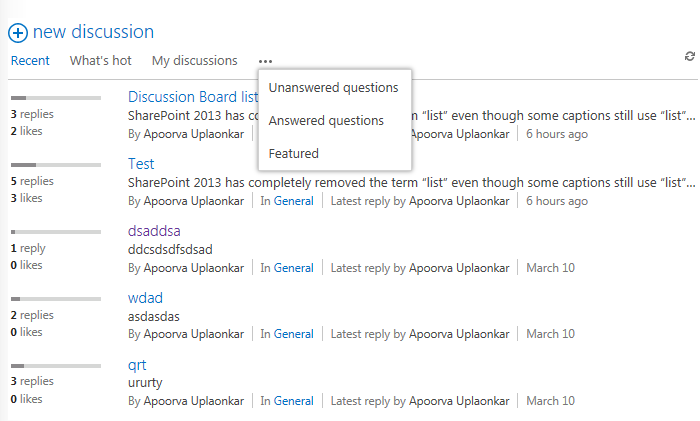 Discussion Forum does not display the items in Answered question