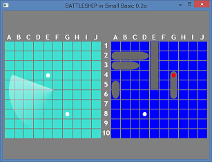 Screen shot of a program BATTLESHIP in Small Basic 0.2a