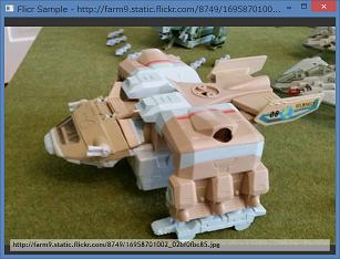 Screen shot of a program Flickr Sample