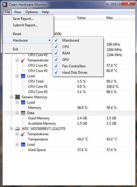 Retrieving CPU/Motherboard temp/voltages/fan speeds etc