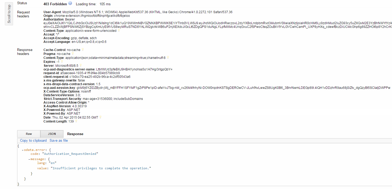 odata.error code authorization_requestdenied