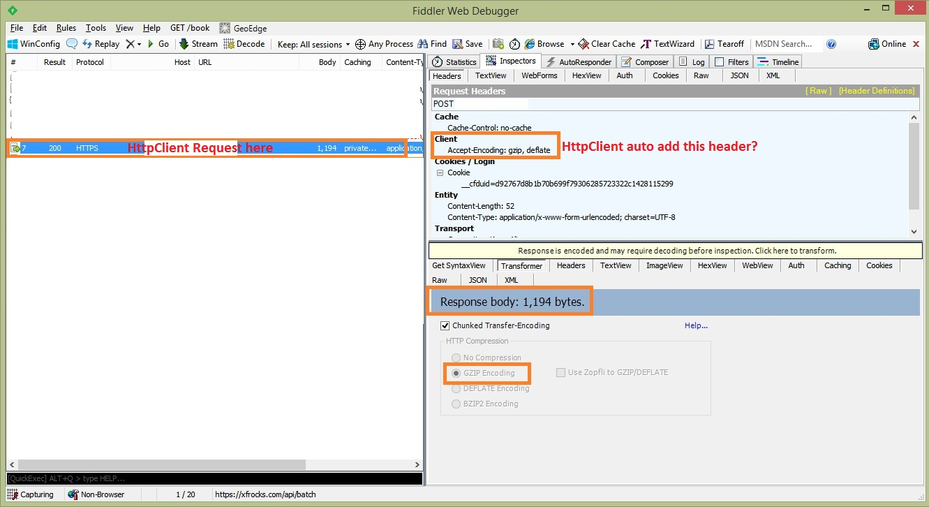 Fiddler tool captured HttpClient POST request.
