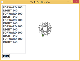 Screen shot of a program Turtle Graphics 0.3a