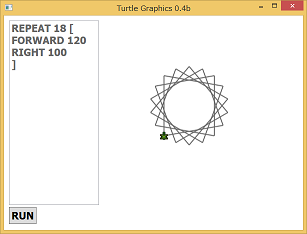 Screen shot of a program Turtle Graphics 0.4b